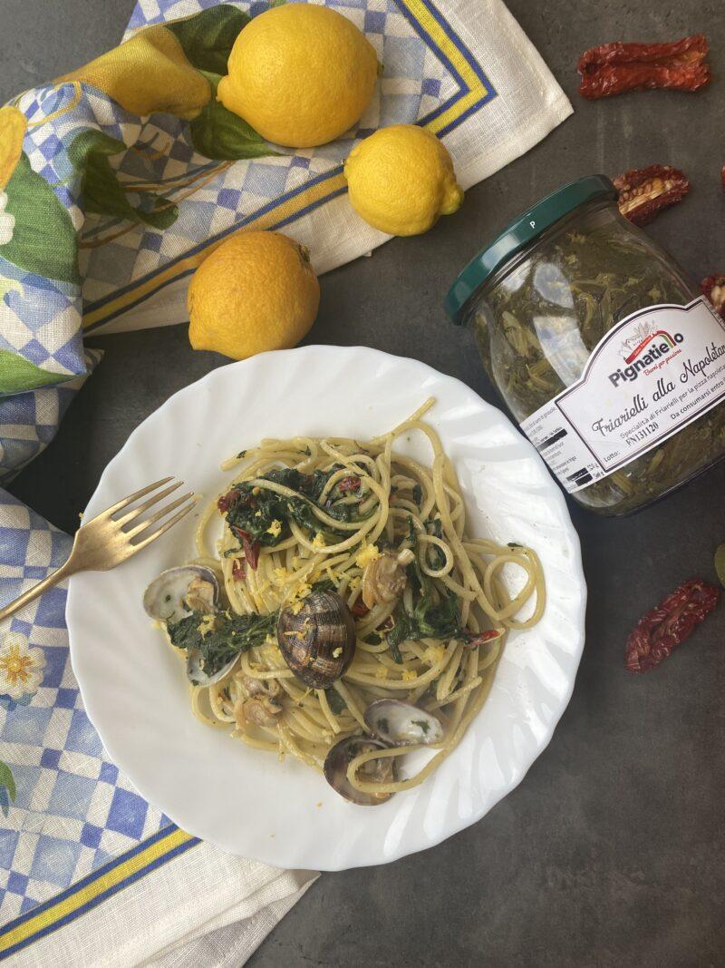 Tagliolini al limone con vongole e friarelli napoletani